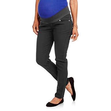 bb4696a2b3414 Oh! Mamma Maternity Demi Panel Stretch Twill Skinny Pants (L, Black) at  Amazon Women's Clothing store: