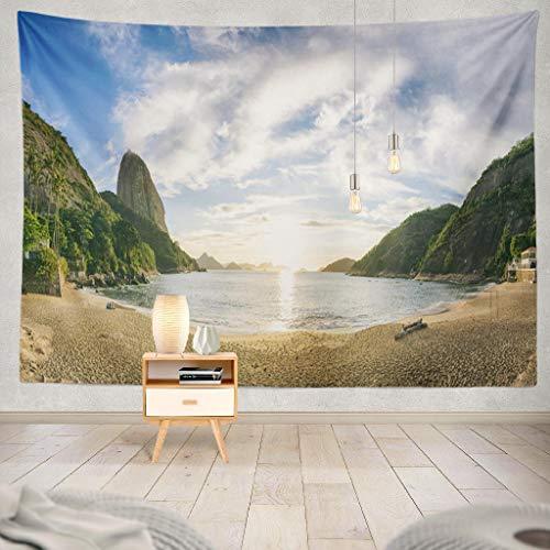 KJONG Morning Sunrise Vermelha Red Beach Mountain Beach Landscape Morning Sun Decorative Tapestry,60X80 Inches Wall Hanging Tapestry for Bedroom Living Room ()