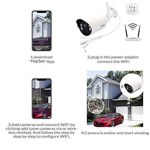 EsiCam Überwachungskamera Aussen WLAN, IP Kamera Outdoor WiFi HD 1080P mit 100 ° Weitwinkel, Zwei-Wege-Audio, 30m IR-Nachtsicht, Bunte nightvision,Bewegungserkennung, IP66 Wasserdicht,-HN04