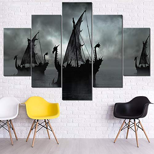 Photographic Fantasy Art - Wall Art for Living Room Fantasy Boats on Misty Lake Paintings Contemporary Artwork 5 Piece Black Pictures on Canvas HD Prints Home Decor Giclee Framed Stretched Ready to Hang Wallpaper(60''Wx40''H)