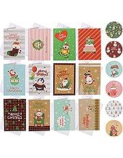 KINBOM 24 Stuks Kerstkaartensets voor Feestdagen, met Enveloppen en Sticker Wenskaartenset Vrolijke Kerstkaart Seizoensgebonden Wenskaart voor Familievrienden Cadeau