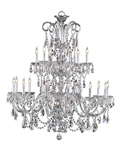Eighteen Light Chrome Imperial Crystal Glass Up Chandelier