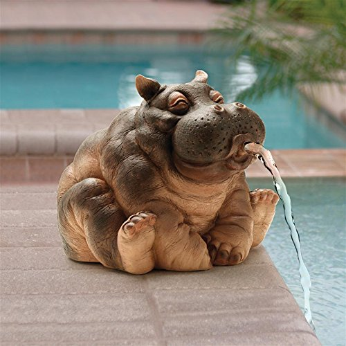 (Design Toscano Hanna The Hippo African Decor Piped Pond Spitter Statue Water Feature, 10 Inch, Polyresin, Full)