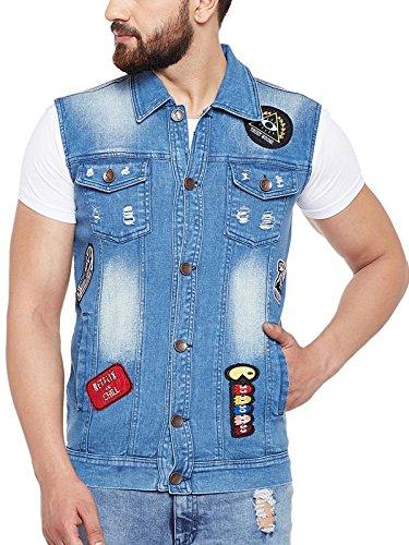 a250f085 FUGAZEE Blue Tatooed Denim Jacket for Men: Amazon.in: Clothing & Accessories