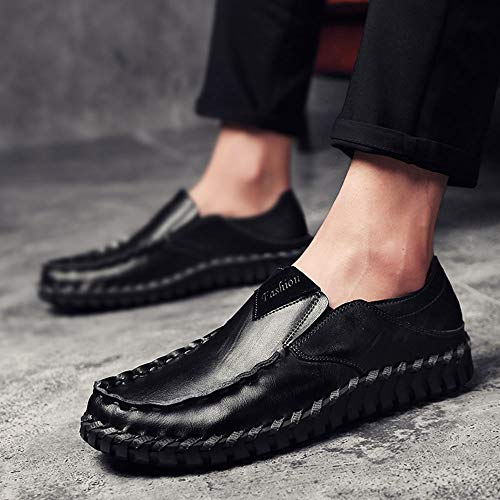 Negro los Verano Hechos Mano Zapatos Cuero de a de Zapatos de Hombres Casuales 0UP7IwqzTx
