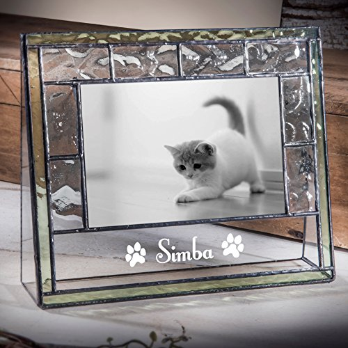 J Devlin Pic 389-46H EP597 Personalized Cat 4x6 Clear Glass Picture Frame with Green Trim Pet Memorial Engraved Photo (Art Pet Memorials)