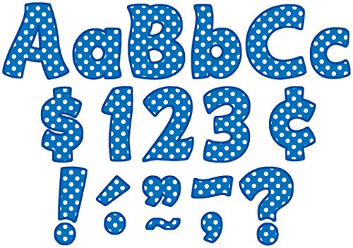 Teacher Created Resources Blue Polka Dots Funtastic Font 4-Inch Letters Combo Pack (5347) -