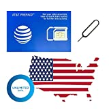 (30 Days High-Speed Unlimited Data) Authentic AT&T ATT Prepaid Sim Card Unlimited High-Speed (True Unlimited, No Throttling) 4G/3G LTE Unlimited Talk Text GSM (Use in USA) + Eject Tool