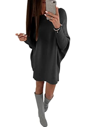 Annystore Womens Crew Neck Pullover Sweater Dress Long Sleeve Loose