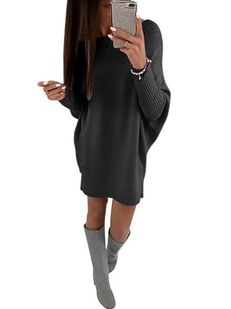 6d999b4281 Annystore Women's Crew Neck Pullover Sweater Dress Long Sleeve Loose Knit  Club Mini Dress Black S