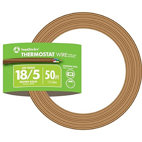 Brown Wire 100ft Spool - Southwire 64169622 5 Conductor 18/5 Thermostat Wire, 18-Gauge Solid Copper Class 2 Power-Limited Circuit Cable, 50-Feet, Brown