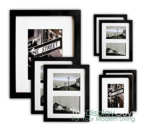 The Display Guys~ 7 Piece Matte Black Solid Pine Wood Photo