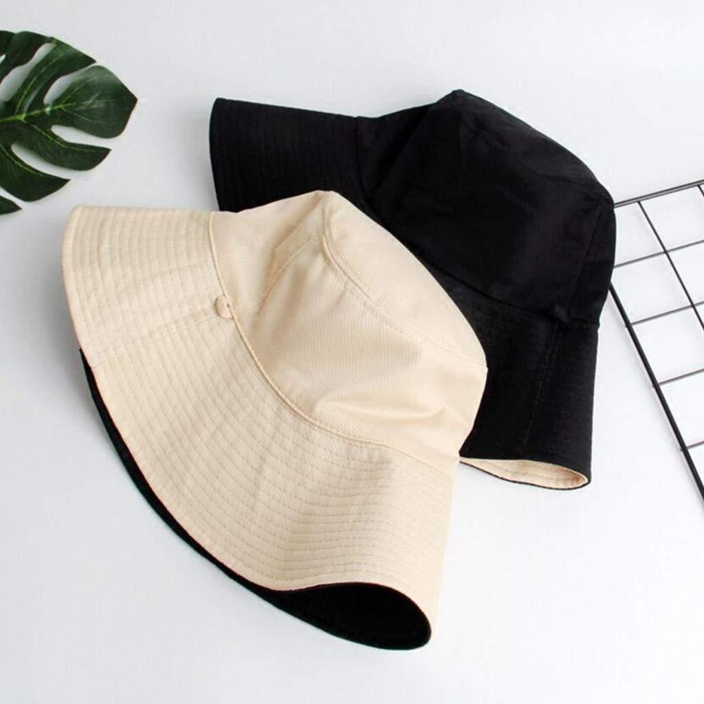 osfanersty Mujeres Hombres Reversible Algod/ón Floppy Sun Hat Contraste Color Wide Brim Protecci/ón UV Beach Bucket Cap con Correa De Barbilla Desmontable