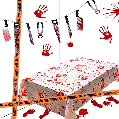 Halloween Office Themes Decoration (Lulu Home Halloween Bloody Party Decorations, Scary Party Favors 5 Piece Bloody Table Cover, Weapon Garland, Handprints, Footprints and Caution)