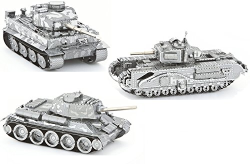3d Metal Art (3D Metal Puzzle Models Of Tank Collection - DIY Toy Metal Sheets Assembling Puzzle, Realistic Display Of Tanks 3D puzzle – 3 Pack)