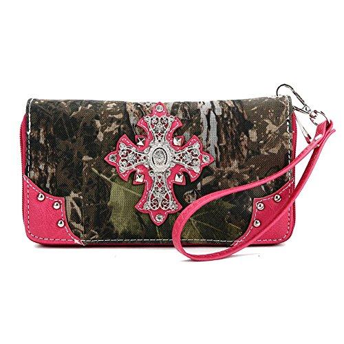 Blancho Ropa de cama Mujer [Cruz del bosque] Bolsa de cuero de PU Bolsa de moda Elegante Wallet-Fuchsia