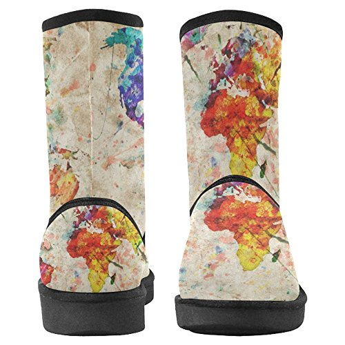 Snow Stivali Da Donna Di Interestprint Design Unico Comfort Invernale Stivali Vintage World Map Multi 1