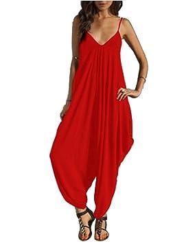 diseñador de moda diseño profesional zapatos exclusivos SaiDeng Monos Y Vestidos De Mujer Fiesta Largos Verano Jumpsuits Cuello En  V De Tirantes Holgados Harem Pantalones