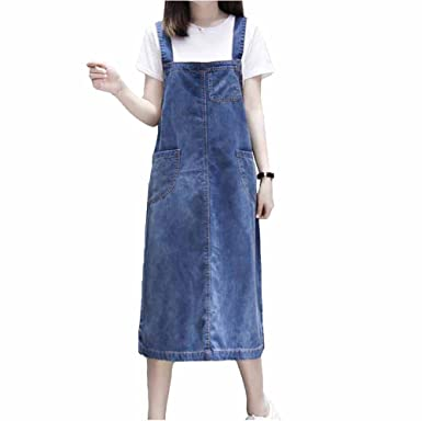 d003e335ab9 Elwow Women s Plus Size Denim Dungarees Pinafore Long Skit Dress with  Bifurcation Design (Blue