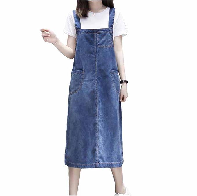 Donna Tuta da Lavoro Denim Vestito Jeans Abito Salopette Elegante Casuale Una Linea Lungo
