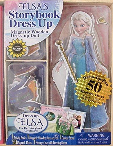 Disney FROZEN Elsa's STORYBOOK & DRESS Up WOODEN Magnetic DOLL ACTIVITY SET w Activity STORY BOOK, WOODEN Magnetic ELSA DOLL, 50 MAGNETIC Pieces (Incl. 2 OLAF FIGURES), STORAGE BOX & More! (2015)