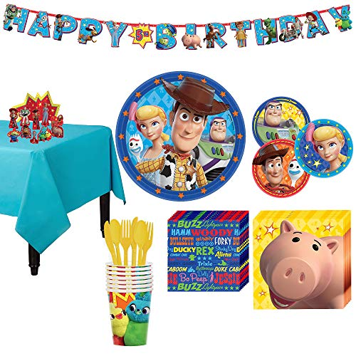 Party City Toy Story 4 Tableware Party Supplies for 8 Guests, 105 Pieces, Includes Tableware and Decorations]()