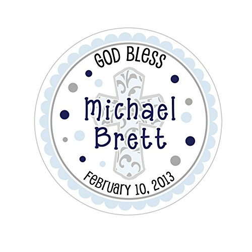 - Personalized Customized Baptism Party Favor Thank You Stickers - Filigree Style Traditional Cross Scallop Border - Round Labels - Choose Your Size