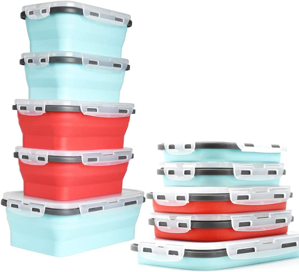 "Collapsibles-5 Container ""FREE"" When 4 Cool Blue/Apple Red Environmentally Friendly Collapsible Silicone Containers Are Purchased.(1)1200(2)800(2)500ml"