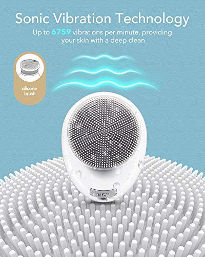 AEVO Facial Cleansing Brush, 6X Deeper Cleanse 2 in 1 Heated Massager & Sonic Vibrations [Detachable Silicone Head for Exfoliation] [Rechargeable] [5 Modes] [for Women/Men], White.