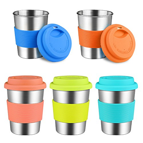 Kids Stainless Steel Cups With Silicone Lids & Sleeves, Kereda 5 Pack 8 oz. Drinking Tumblers Eco-Friendly BPA-Free for Children and Toddlers, Adults ()