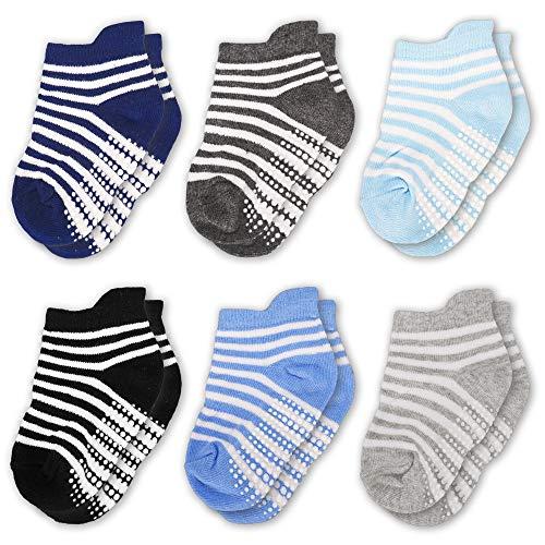 CozyWay Non-Slip Toddler Socks Grips Baby Girls Boys 6&12 Pack Anti Skid Ankle Socks Infant - Socks Pack Baby 6