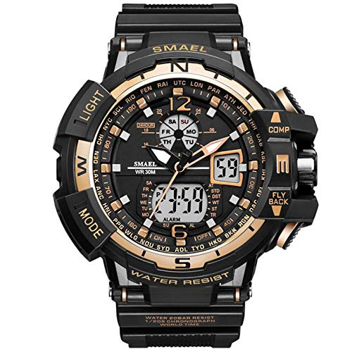 Multifunction Stopwatch - XBKPLO Sport Watch Men's LED Waterproof Dual Display Analog Mechanical Digital Electronic Wrist Watches Outdoor Military Multi Function Alarm Stopwatch