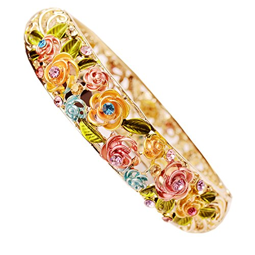 (Starshiny Color Rose Retro Enamel Hollow Handcrafted Gold plating Bangle Bracelet with Crystals for)