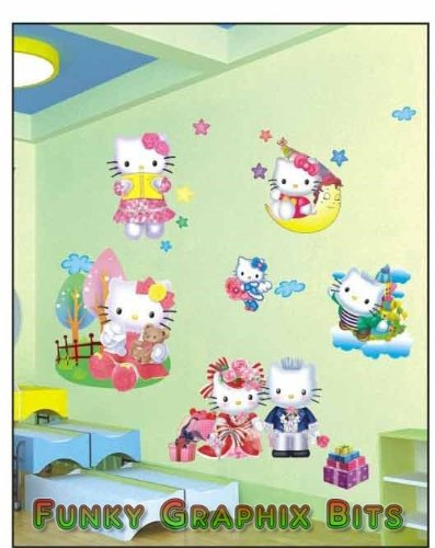 bab2d88ae 3D AMAZING KIDS WALL STICKERS, LARGE HELLO KITTY, GIRLS BEDROOM WALL  STICKERS, BEDROOM DECOR: Amazon.co.uk: Kitchen & Home