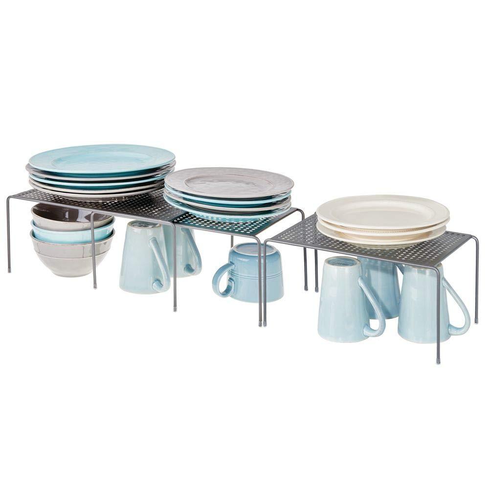 mDesign Set da 3 Porta piatti e porta stoviglie allungabile – Scaffale cucina salvaspazio – Ideale per ottimizzare gli spazi e sfruttare ogni centimetro – grigio MetroDecor