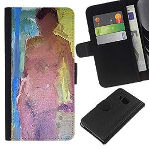 KLONGSHOP // Tirón de la caja Cartera de cuero con ranuras para tarjetas - Desnudo Pintura Ley mujer desnuda - HTC One M9 //