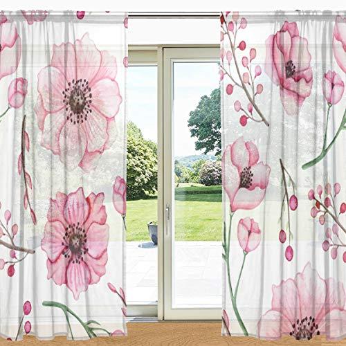 My Daily Watercolor Pink Flowers Berries Print Sheer Window Curtain 2 Panels 55