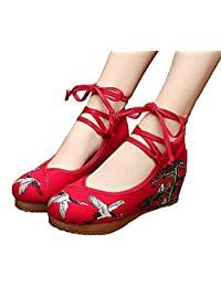 ZYZF Women Chinese Casual Embroidered Oxfords Rubber Sole Mary Jane Dance Flat Shoes