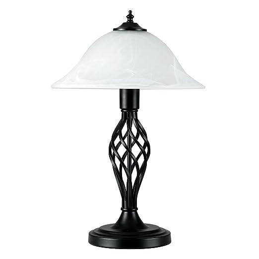 Traditional style satin black barley twist table lamp with a frosted traditional style satin black barley twist table lamp with a frosted alabaster shade mozeypictures Choice Image