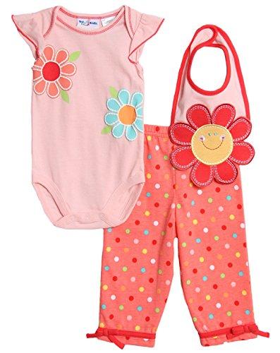 BT Kids Baby Girls' 3 Piece Pink Polka Dot Flower Casual Pants Bib Set
