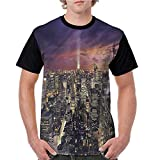 Summer Casual O-Neck,NYC,Offices in New York Skyscrapers S-XXL Baseball Short Sleeve