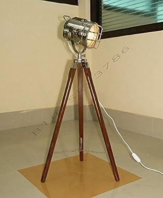NauticalMart Vintage Theater Industrial Tripod Floor Table Lamp Modern Nautical Searchlight