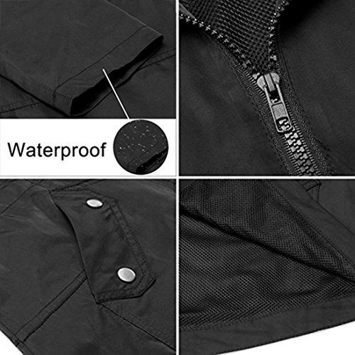 Hooded Saihui Coat Detachable Waterproof Black Women Rain Anorak Lightweight Jacket rrZqwv8