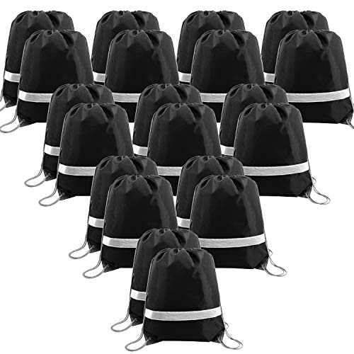 - 20 Pieces Black-Drawstring-Backpack-Bags in Bulk Reflective Sports Gym String Bags Cinch Bag