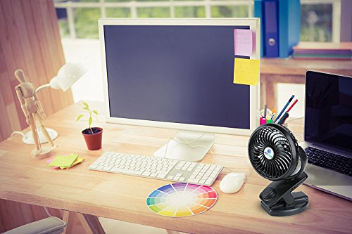 Glovion Battery-Operated Clip on Fan, Portable Personal Fan for Baby Stroller, Rechargeable Battery or USB Powered Fan, Power Bank Function, Mini Desk Table Fan by Glovion (Image #6)