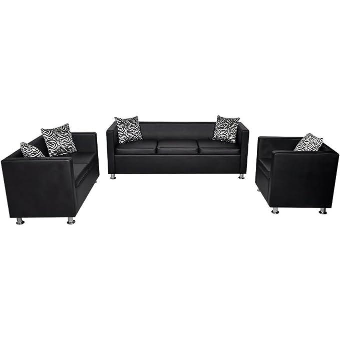 vidaXL Set de Tres sofás de Cuero Artificial Negros 2 plazas ...