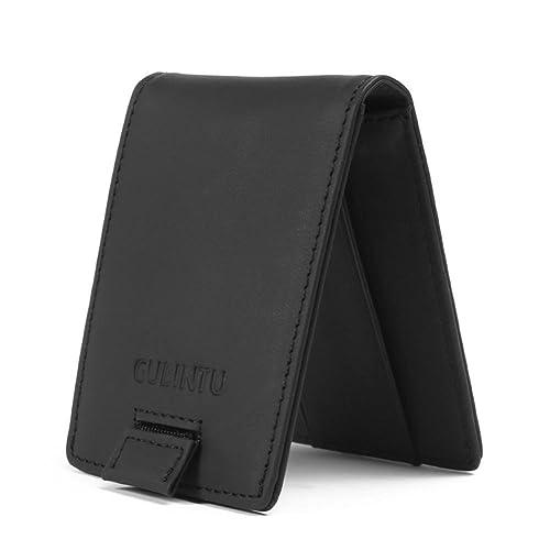 JINBAOLAI-MSKAY RFID bloqueo de la Cartera Para Hombre Bolso bipliegue de cuero vintage Caja de tarjeta de crédito, idea del regalo, black: Amazon.es: ...
