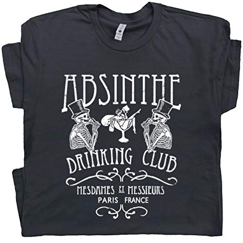 XL - Absinthe T Shirt Paris France Drinking Tee Famous French Bar Vintage Fairy Poster Graphic Van Gogh Men Women Black (Vodka Van Gogh)