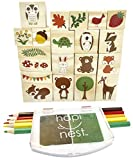 Hapinest Woodland Animal Wooden Stamp and Sticker