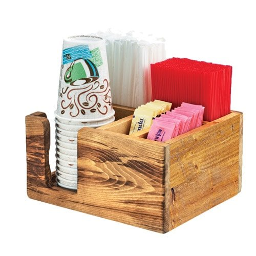 Cal-Mil 3566-99 Compact Condiment Organizer, 5'' Height, 9.75'' Width, 8.25'' Length, Reclaimed Wood, Madera